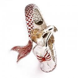 Bracciale Contrarié Sirena in oro bianco di colore rosso